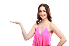 Beautiful woman with presenting pose Royalty Free Stock Photos