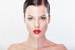 Beautiful woman presenting before and after retouching image. Royalty Free Stock Image