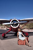 Beautiful woman with private plane Royalty Free Stock Photography