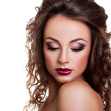 Beautiful woman with professional make up white background Royalty Free Stock Photo