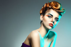 Beautiful woman with  Professional makeup and hairstyle Royalty Free Stock Photos