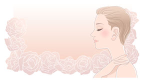 Beautiful woman profile with eyes closed on roses Royalty Free Stock Photography