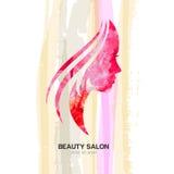 Beautiful woman, profile face on pastel stripes watercolor backg Stock Photos