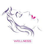 Beautiful woman profile portrait, spa and wellness logo, ink strokes vector illustration isolated on white Stock Images