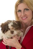 Beautiful Woman With Puppy Stock Image