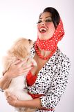 Beautiful woman with a puppy dog royalty free stock photo