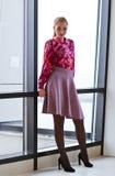 Beautiful woman in purple blouse Royalty Free Stock Photo