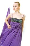 Beautiful woman in purple dress Royalty Free Stock Image