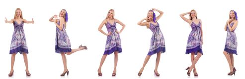The beautiful woman in purple dress isolated on white royalty free stock photography