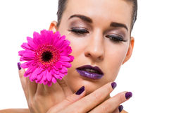 Beautiful woman in purple make-up Royalty Free Stock Image