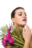 Beautiful woman in purple make-up Royalty Free Stock Photos
