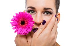Beautiful woman in purple make-up Stock Photography
