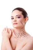 Beautiful woman with purple makeup Royalty Free Stock Images