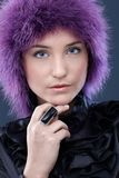 Beautiful woman in purple wig Royalty Free Stock Photography
