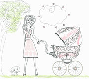 Beautiful woman pushing a stroller Royalty Free Stock Images