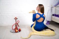 Beautiful woman with python. Bright photo, studio shoot, beautiful woman with long light hair, holding wild albino python, smoke hookah. Erotic emotional Royalty Free Stock Images