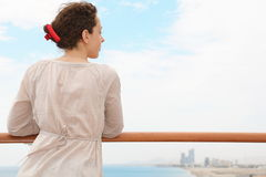 Beautiful woman in Qaboos Port. stock photo