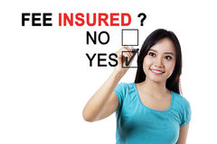 Beautiful woman with a question of fee insured Stock Photography