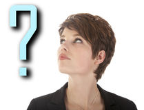 Beautiful woman with question mark Royalty Free Stock Photo
