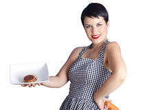 Beautiful woman questioning her diet Stock Photography