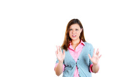 Beautiful woman raising hands up to say no, stop right there Royalty Free Stock Photography