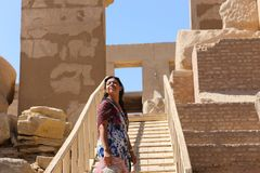 Beautiful woman at Ramesseum temple Royalty Free Stock Images