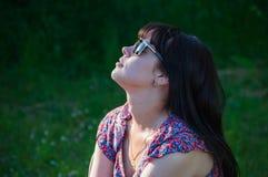 Beautiful woman in rays of sun Royalty Free Stock Photos