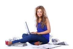 Beautiful woman reading newspaper Royalty Free Stock Photo