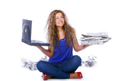 Beautiful woman reading newspaper Stock Images