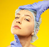 Beautiful woman ready for cosmetic surgery Royalty Free Stock Images