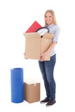 Beautiful woman ready for moving day isolated on white Royalty Free Stock Image