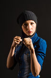 Beautiful woman ready to fight. Portrait of beautiful young woman ready to fight Royalty Free Stock Image