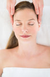 Beautiful Woman Receiving Head Massage At Health Spa Stock Image