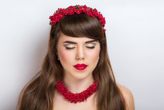 Beautiful woman with red accessory. Portrait of beautiful young girl lady model woman Russian Ukrainian dreams desires. Classy look national ethnic style Royalty Free Stock Photos