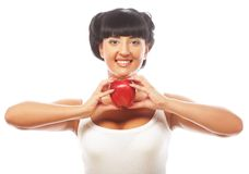 Beautiful woman with red apple Royalty Free Stock Photo