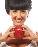 Beautiful woman with red apple Stock Photos