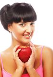 Beautiful woman with red apple Stock Photography