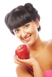 Beautiful woman with red apple Royalty Free Stock Images
