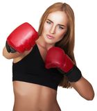 Beautiful woman with the red boxing gloves Royalty Free Stock Images