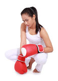 Beautiful woman with the red boxing gloves. Isolated on white background Royalty Free Stock Image