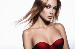 Beautiful woman in red bra. Beautiful woman with long hair and perfect skin in red bra Stock Photos
