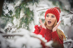Beautiful woman in red with brown fur cape enjoying the winter scenery in forest. Blonde girl posing under snow-covered branches Royalty Free Stock Photos