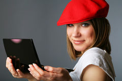 Beautiful woman in red cap with Make up Royalty Free Stock Photo