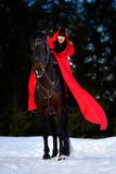 Beautiful woman with red cloak with horse outdoor in winter Stock Photos
