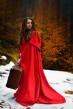 Beautiful woman with red cloak and suitcase. Alone in the woods royalty free stock photo