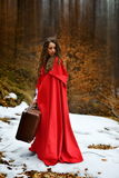 Beautiful woman with red cloak and suitcase alone Stock Photography