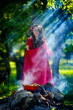 Beautiful woman with red cloak  in the woods Royalty Free Stock Photos