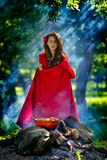 Beautiful woman with red cloak  in the woods Royalty Free Stock Photography