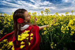 Beautiful woman with red cloak  in yellow blooming field Stock Image