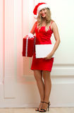 Beautiful woman in red cloth with copyspace Royalty Free Stock Photography